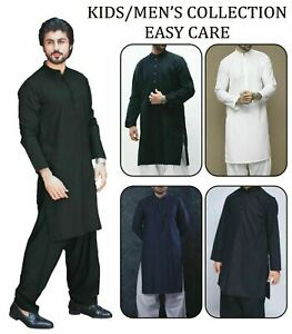 Easy care Mens Shalwar Kameez Plain Black White Pakistani Punjabi kurta Salwar