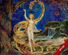 TEMPTATION OF EVE BY THE SERPENT PAINTING TORAH BIBLE ART REAL CANVAS PRINT