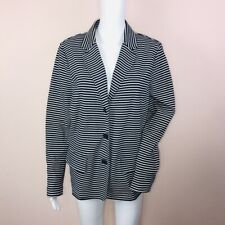 Talbots XL Cotton Blend Jacket Navy White Stripe