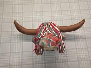 Highland Cow Head For Wall Mounting Tartan Tweed Wool Fabric