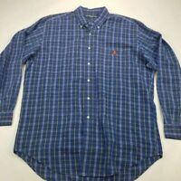 Ralph Lauren Golf Mens Tilden Oxford Shirt Blue Plaid Long Sleeves Pocket Xl