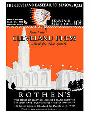 Cleveland Indians Inaugural Game Program Municipal Stadium 1932 - 8x10 Photo
