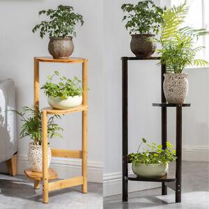 Simplicity Bamboo Plant Stand 3 Tier Corner Plant Display Shelves Garden Outdoor