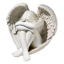 Elegant Shy Celestial Angel Statue Garden Winged Sculpture