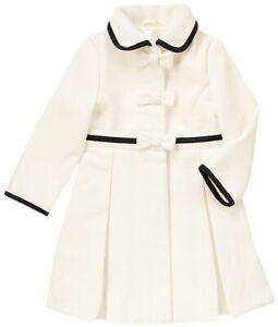 Gymboree White Coat Girls Joyful Holiday Black Trim Bow 7 8 NWT