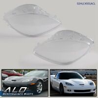 Left+Right Replacement For 05-13 Corvette C6 Clear Headlight Lens Lenses Covers