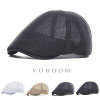 Mens Ivy Hat Summer Breathable Mesh Beret Newsboy Hat Ivy Cap Cabbie Flat Cap V