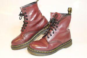Dr Martens Docs Womens 37 6 Burgundy Leather Lace Up Combat Boots