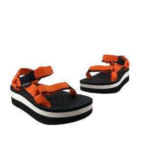 Teva Womens Original Universal Sandals Strappy Platform  Black Orange Shoes  7