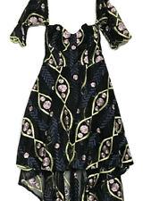 L'Atiste by Amy Floral Embroidered Hi-Low Hem Strapless Cold Shoulder Dress-S