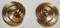 NWT Crown Trifari Gold Tone Round Scroll Swirl Clip On Earrings Original Card