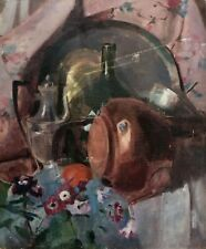 MID 20TH CENTURY FRENCH OIL ON CANVAS MODERNIST STILL LIFE VINTAGE PAINTING