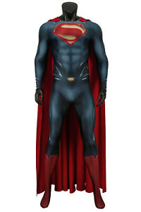 Superman Man of Steel Superman Clark Kent Jumpsuit Costume Cosplay Halloween