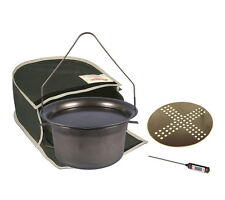 Spun black steel Hillbilly Ranger 7.5L camp oven starter kit canvas bag