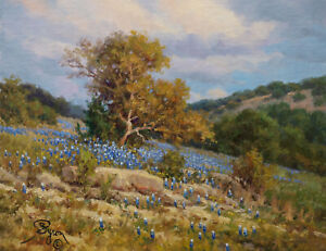 oak tree landscape bluebonnet oil painting rocks Texas Hill Country Hagerman