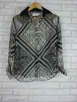 Shakuhachi Blouse/Top Sz AU 8 Black, Gray Print