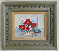 Folk Naive Outsider Vintage Painting Carnations Still Life Flowers  Holland
