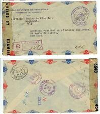 1943 Venezuela Official Registered censored cover - mining - Libre De Porte free