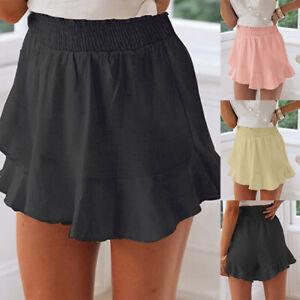 Damen Hosenrock Shorts Sommerhose Strandhose Kurz Hose Hohe Taille Hose Hotpants