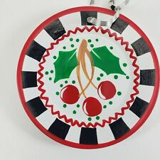 Cherry Me Mary Engelbreit Miniature Plate Holly Cherries Black Checked
