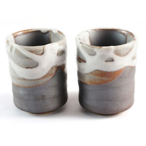 Tea Coffee Cup Pair - Japanese Stoneware Ceramic Mug Cups Sushi - White & Grey