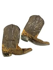 Men's 11D Cowboy Boots Leather & Alligator Or Snake ? A Circle Logo Brand 11 D