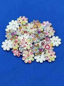 Colourful Wooden Flower Buttons Sewing Knitting Crocheting Scrapbook Decoration