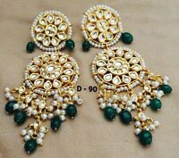 Goldtone Bollywood Ethnic Dangle Earrings Set Traditional Kundan Jewelry--j