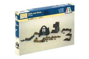 Italeri 1/72 WWII Ruin Wall Sections & Sandbags 6087 NEW!