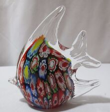 Millefiori Art Glass Angel Fish Paperweight Hand Blown Murano Style #3