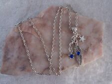Tibetan Silver Feather & Star  Blue Diamante,Silver Chain Necklace. Handmade