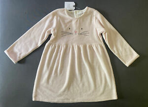 Baby Girl 18-24 Month Next UK Pink & White Striped Cat Character Velour Dress