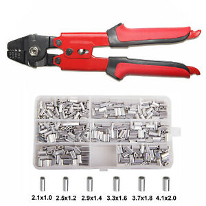 Fishing Crimping Tool Crimp Pliers Wire Leader Swager with Crimping Sleeves Kit