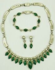 Malachite & Sterling Silver (Necklace, Bracelet & Earring) Mexico 130 Gram's