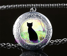 Garden Black Cat Cabochon Glass Tibet Silver Chain Locket Pendant Necklace