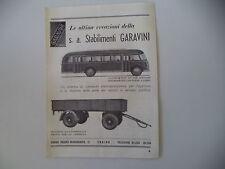 advertising Pubblicità 1947 AUTOBUS FIAT 666/RIMORCHI STABILIMENTI GARAVINI