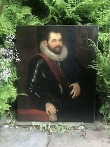 Circle Of Rubens Large 17th Century Portrait Of An Aristocratic Gent