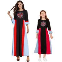 Muslim Women Kaftan Maxi Dress Kids Girls Long Sleeve Casual Loose Dubai Robe