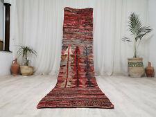"Handmade Moroccan Boujaad Runner Rug 2'4""x10'3"" Polka Dot Vintage Wool Red Rug"