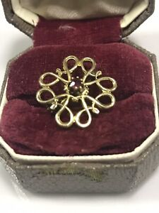 9ct Gold  Victorian Antique Brooch, With Red Ruby Stone.