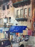 """Watercolor Original Painting  11"""" x 15"""" Chinatown At Night San Francisco"""