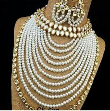 Indian Ethnic Bollywood Fashion Kundan Pearl Gold Plated Jewelry Necklace Set