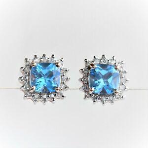 NATURAL BLUE TOPAZ EARRINGS 32 GENUINE DIAMONDS 9K ROSE PINK GOLD GIFT BOXED NEW