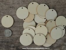 """100 count 1.5 inch wood TAG CIRCLE shape DIY 1-1/2"""" wooden coin craft round"""