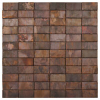 Mosaik Metall Kupfer 3D braun Wand Boden Küche Bad Wc Fliesenspiegel  | ES-86474