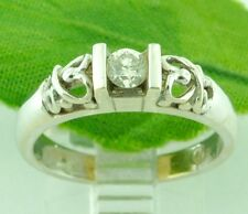 0.18 ct 14k Solid White Gold Ladies Natural Diamond Solitaire Ring   Pre owned
