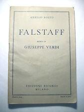Arrigo Boito Falstaff Giuseppe Verdi Libro Collezione Edizioni Ricordi