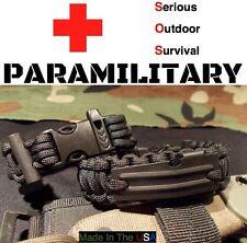 550 Paracord SOS Paramilitary Survival Bracelet / Flint Fire Fishing Kit Whistle