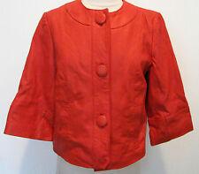 COLDWATER CREEK Orange Genuine Leather Jacket, Split On Back Size Petite 6
