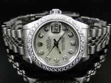 Womens Rolex Oyster Date Just Stainless Steel Diamond Watch Quick Set 2060